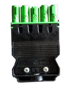 Złącze żeńskie z odciążeniem (zielone)